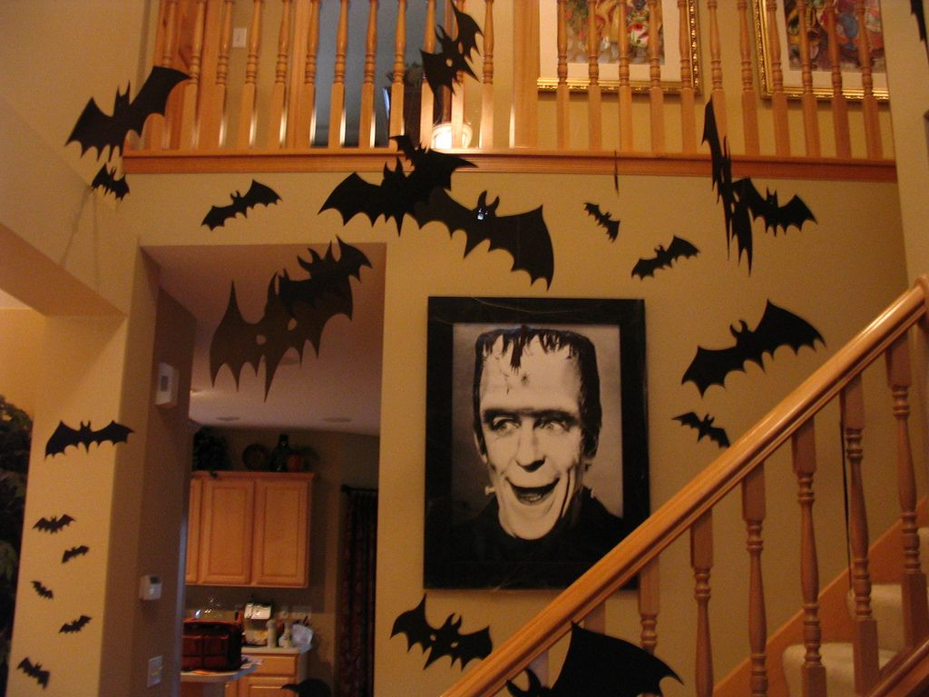 Love the bats all over the walls and love the large print of Herman - Inside Halloween Decorations