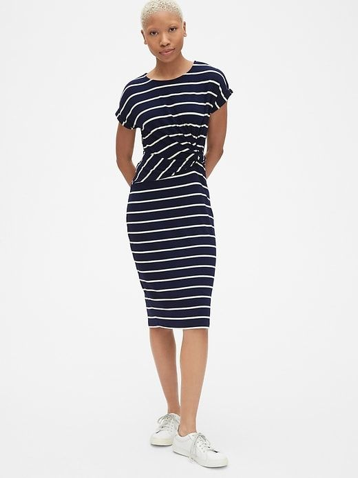 c935e78d38c Gap Womens Softspun Stripe Short Sleeve Twist-Knot Midi Dress Navy Stripe