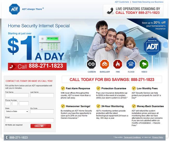 "ADT landing page - $1 a day - ""Call me back"" CTA"