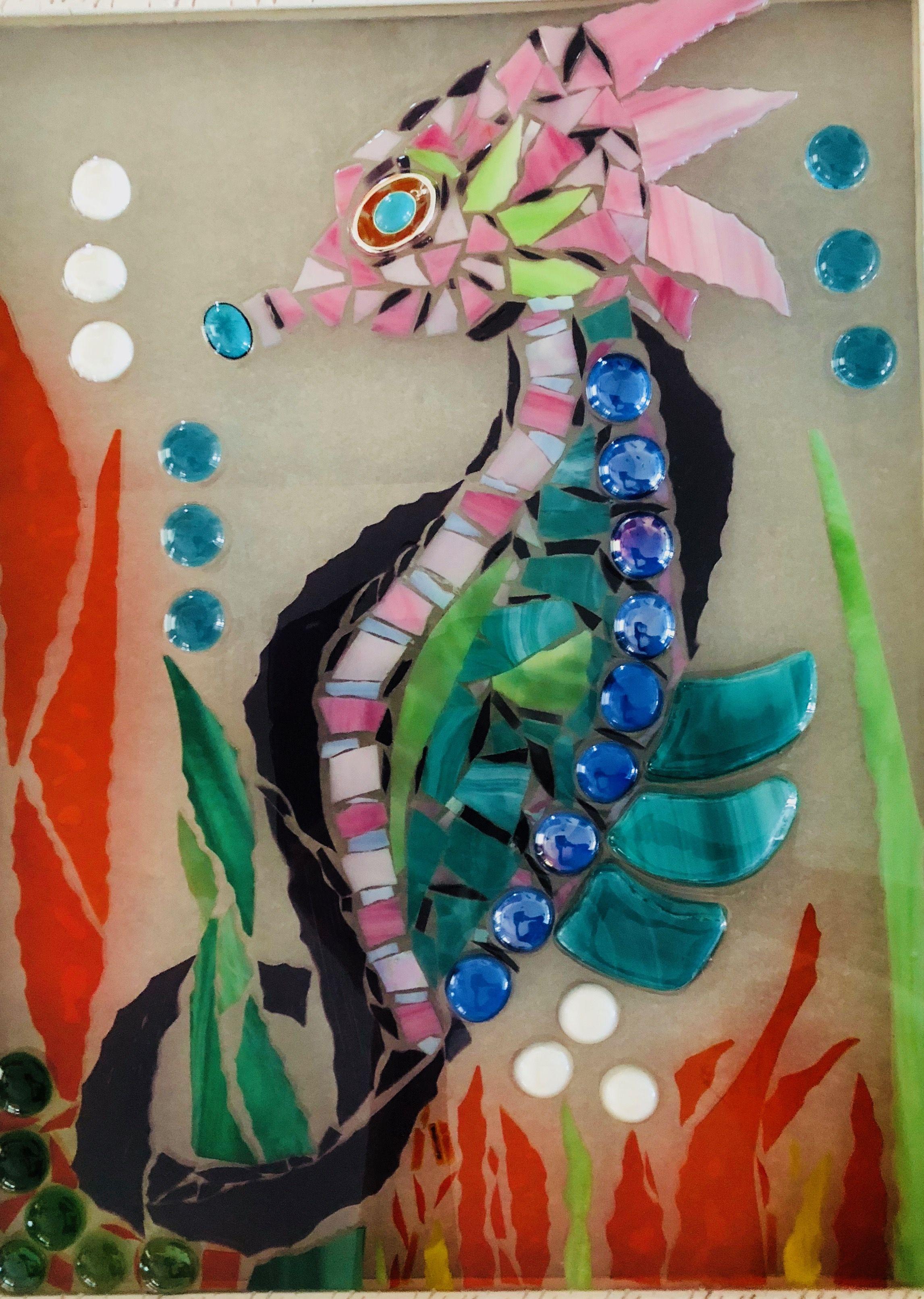 Seahorse Resin Art Online art courses, Window art