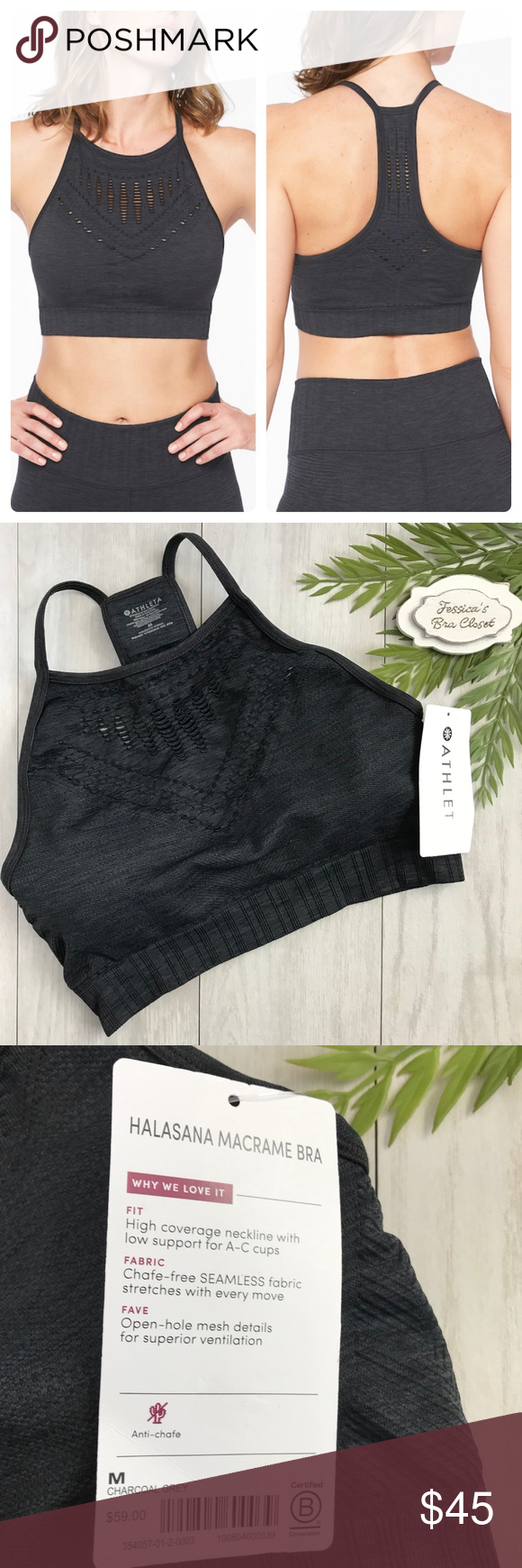 0ffa23c44b7c7 ATHLETA⭐️Halasana Macrame Sports Bra NWT Grey Brand new with tags! NWT  Athleta Halasana