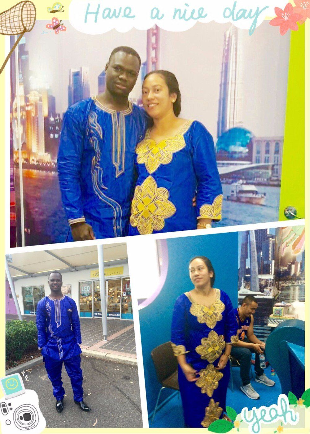 African couple and single clothing ankara brocade kaftan lady long