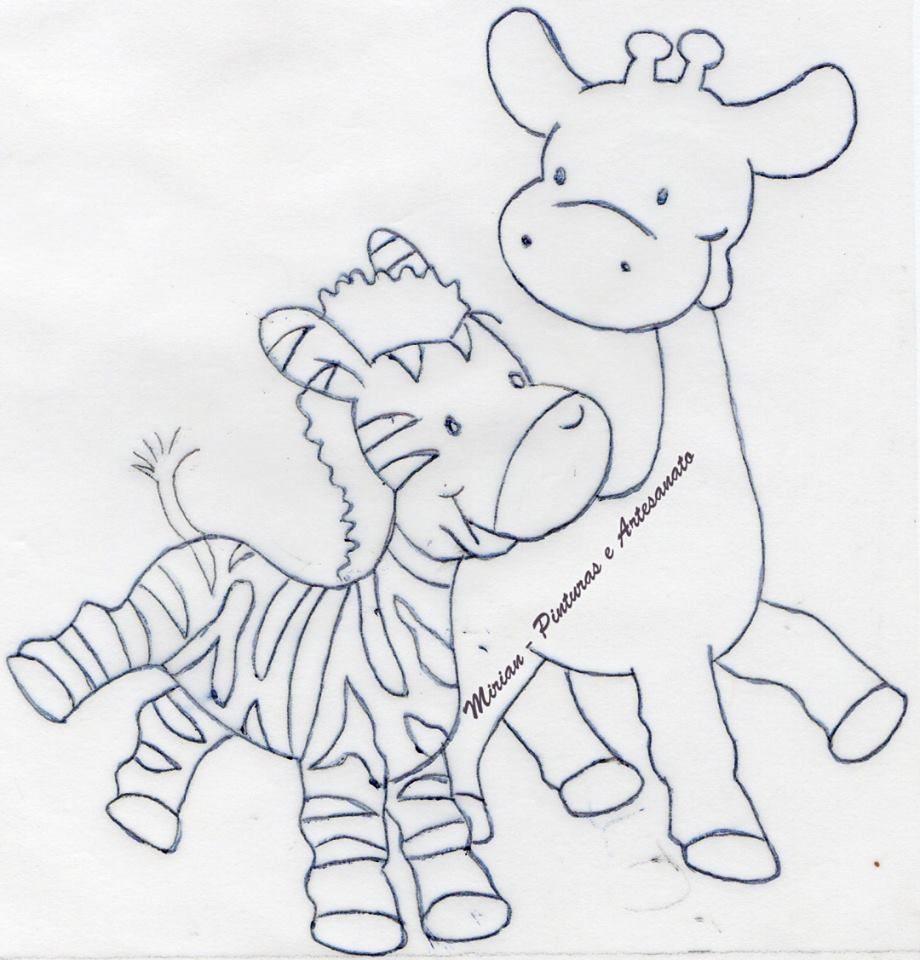 Zebrinha E Girafinha Pintura Em Fraldas Riscos Para Pintura