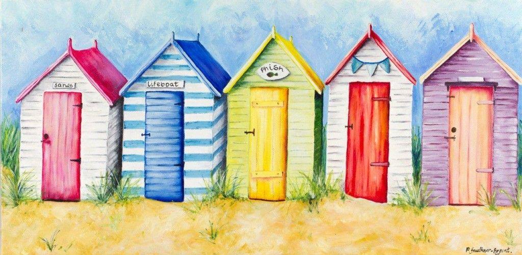 Beach Hut Canvas Print Funky Boho Beach Huts Art Beach