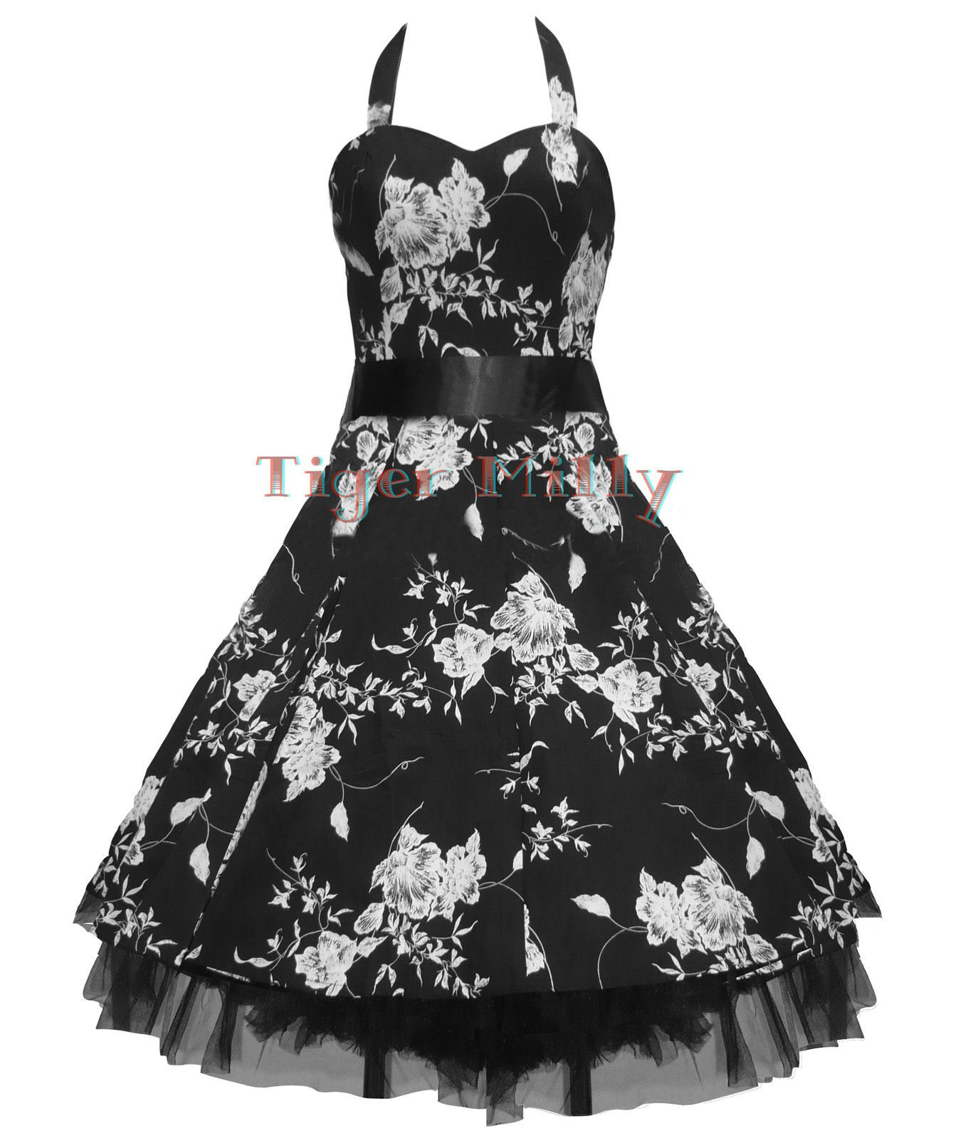Black and white dresses for wedding guests  us FLORAL PROM WEDDING DRESS BLACK u WHITE SIZE   Prom