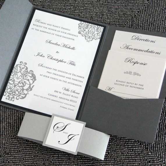 Metallic Pocketfold Wedding Invitation   Black And SIlver Elegant Scrolls  Sample