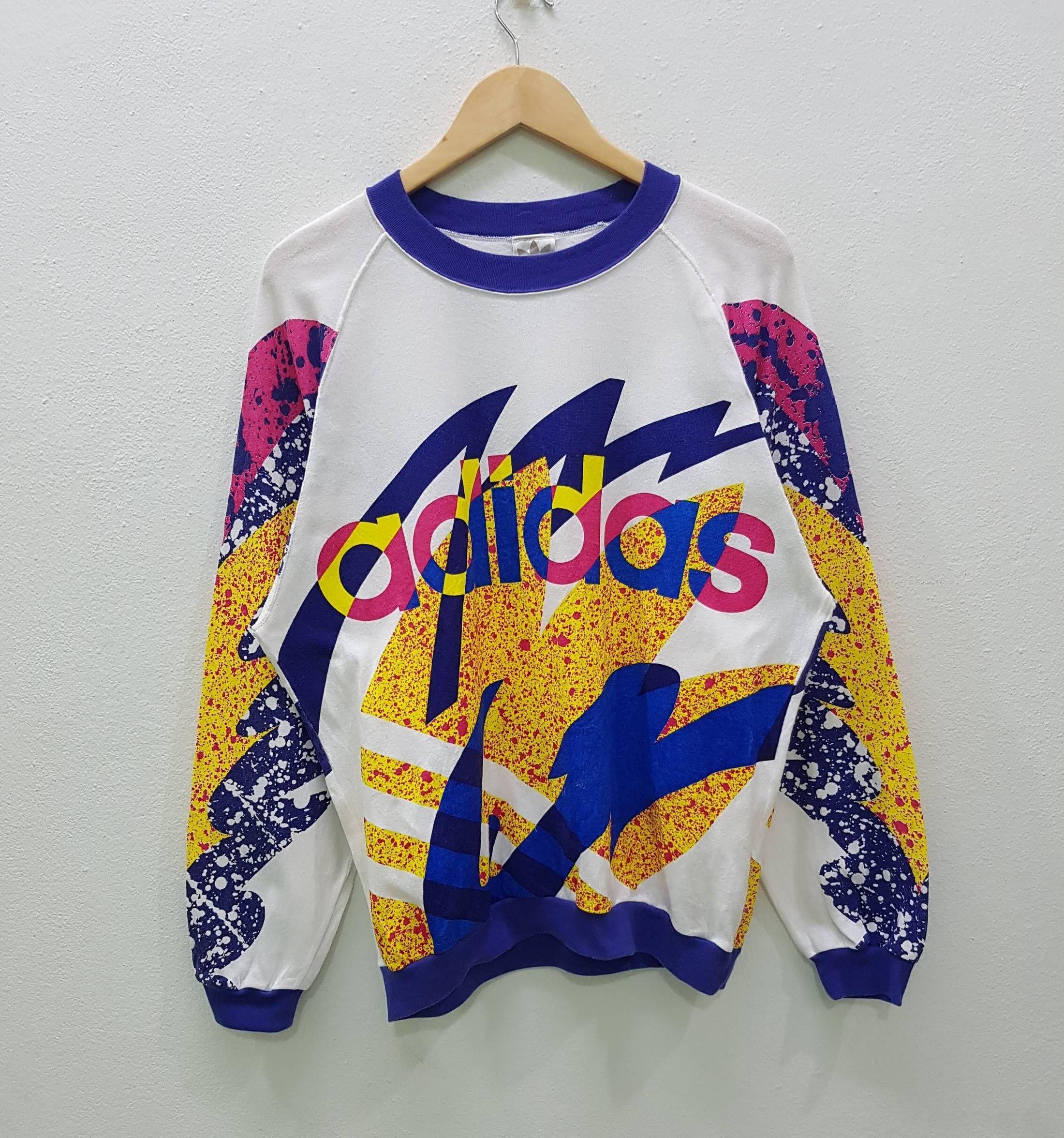 Adidas Vintage Adidas Multicolour Style Sweatshirt Pullover Big Logo Unisex Style Jumper Size Us M Eu 48 Aesthetic Clothes Clothes Adidas Sweatshirt Outfits [ 2352 x 2200 Pixel ]