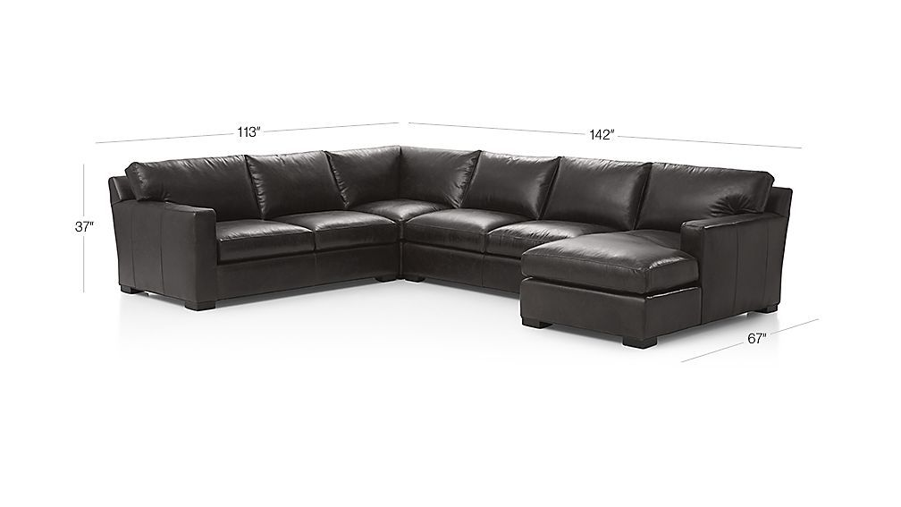 Axis Ii Brown Leather Sectional Sofa Crate And Barrel Sectional Sofa