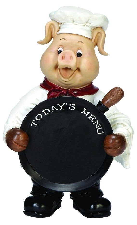 Smiling Pig Chef Holding Chalkboard Pan