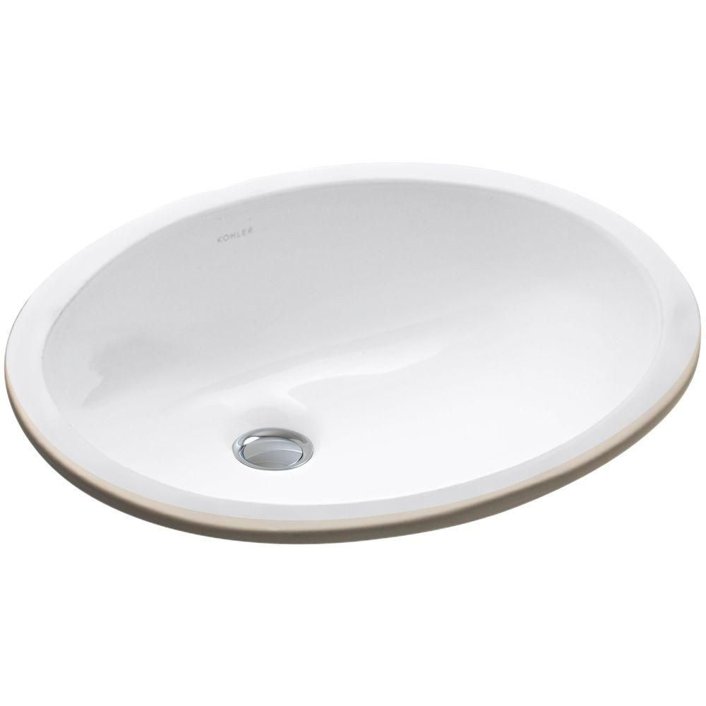 Kohler Caxton Vitreous China Undermount Bathroom Sink In White With Overflow Drain K 2209 0 Undermount Bathroom Sink Sink Kohler Caxton