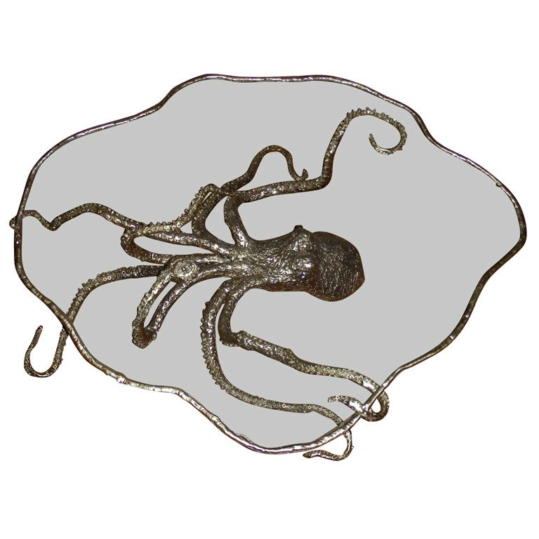 Great For Sale On   Coffee Table With An Octopus Shaped Bronze Base And Top  Surface In Glass. Pictures Gallery