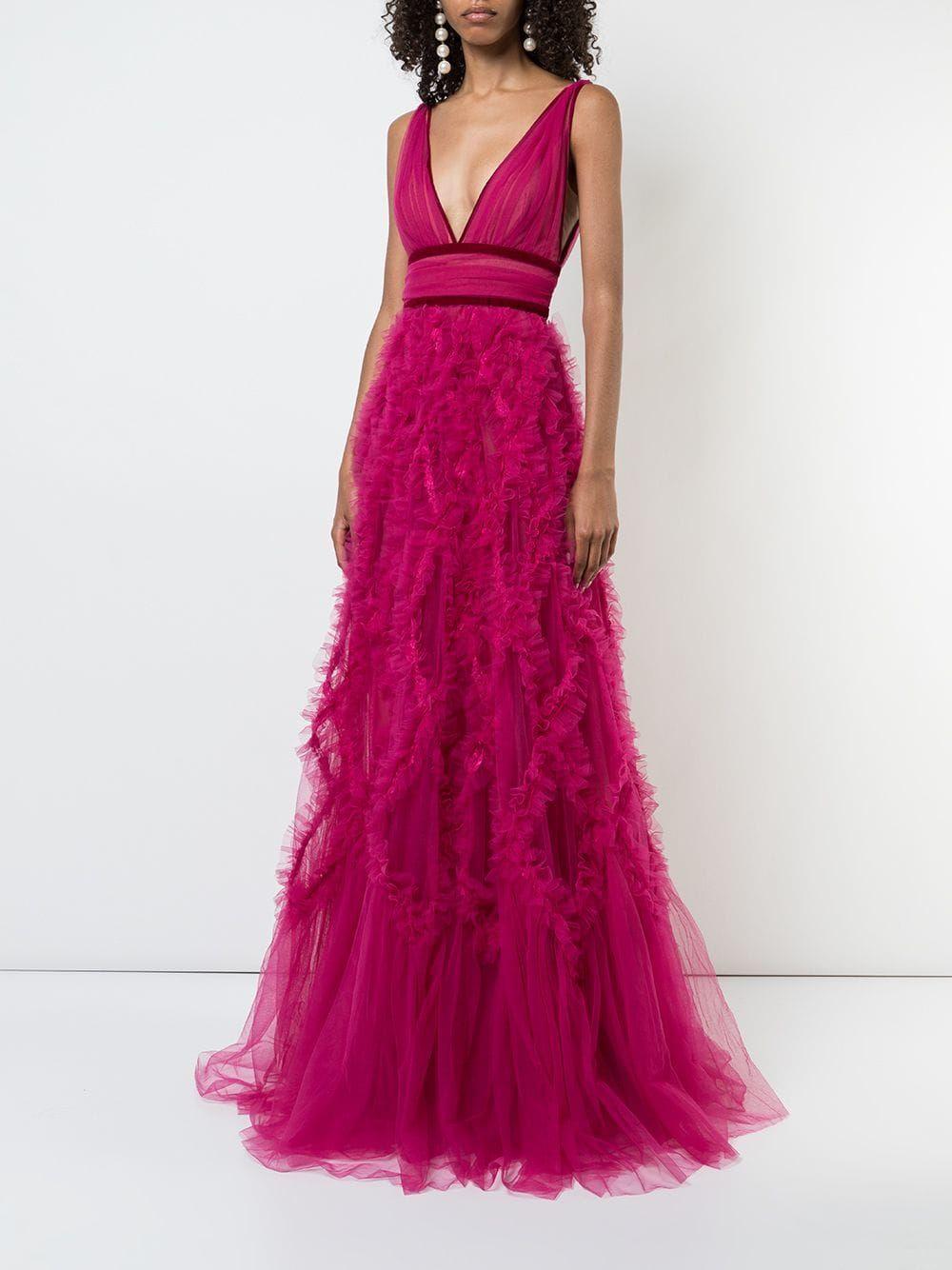4ba5fbe9 Marchesa Notte Ruffled Tulle Gown in 2019 | Marchesa | Tulle gown ...