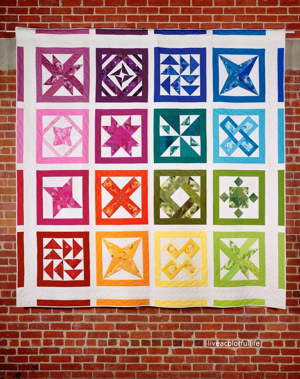 Color box rainbow sampler quilt by cindy week at 52