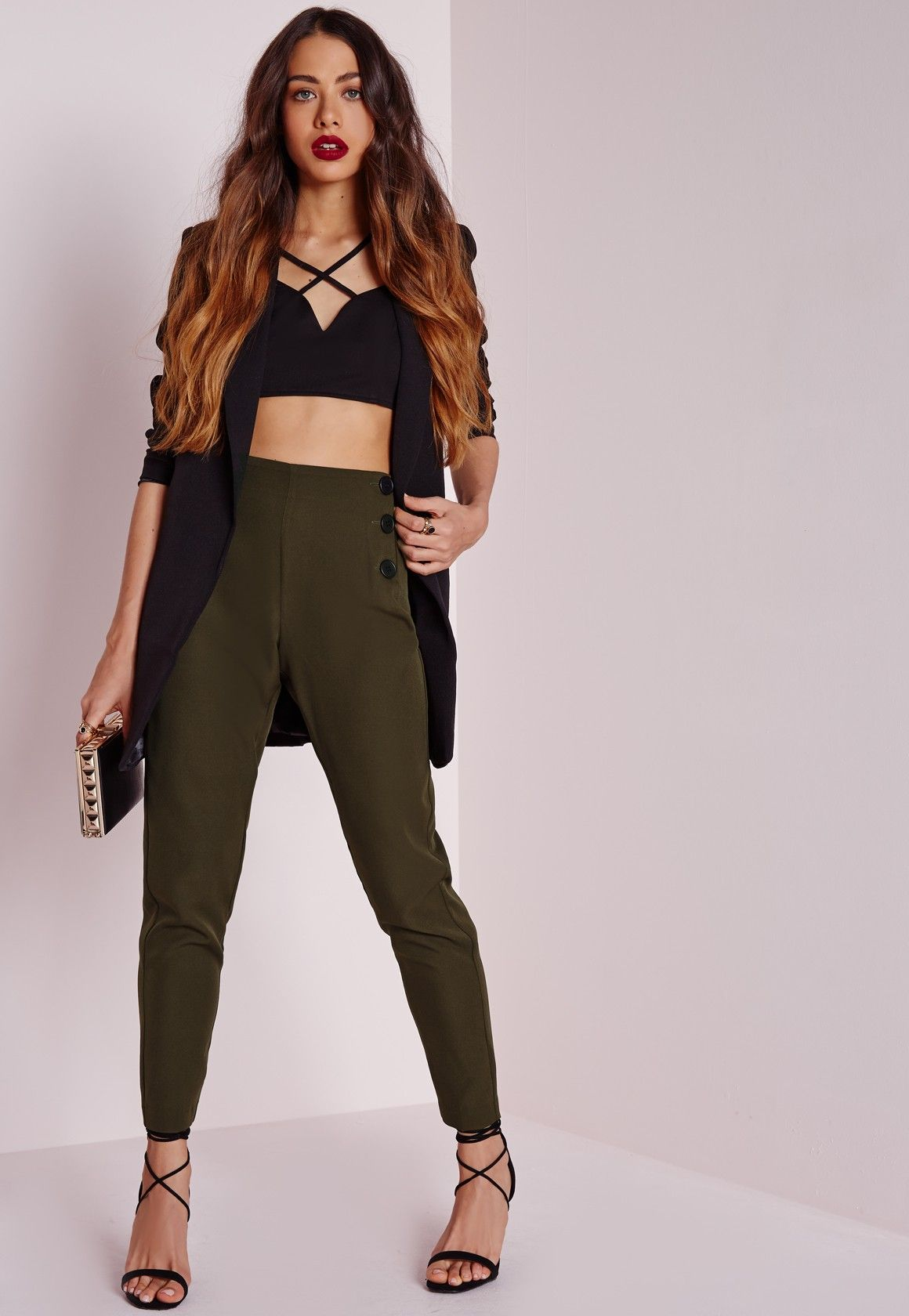 f4fd49aaae124e Missguided - Button Front Cigarette Pants Khaki | Business Casual ...