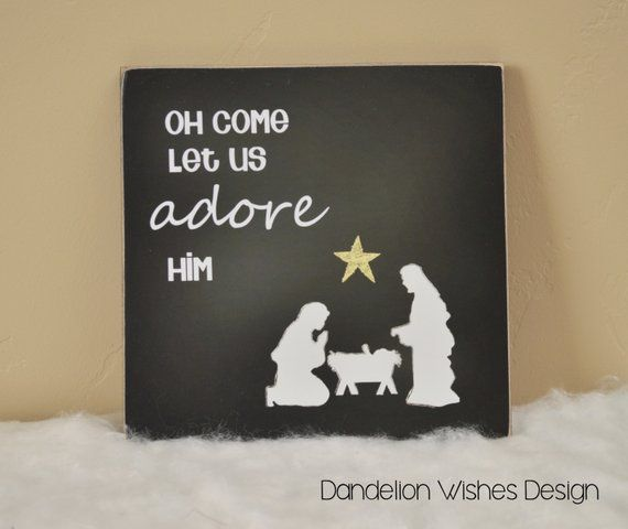 Oh Come Let Us Adore Him Wood Signs Christmas Signs Wood: Christmas Decoration Wooden Sign {Oh Come Let Us Adore Him
