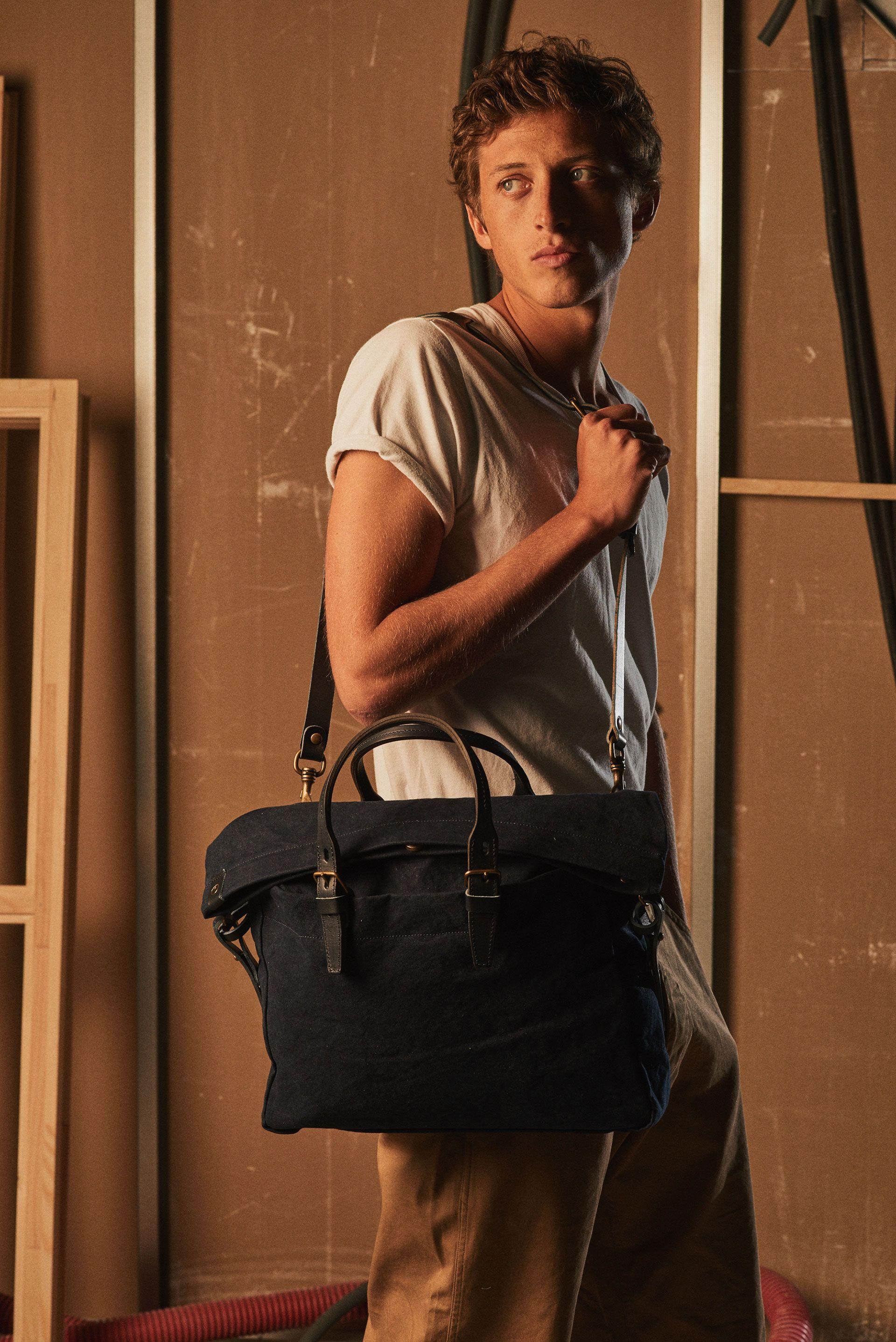 f8b714d4f4 Sac business toile et cuir Homme Remix Indigo - Bleu de Chauffe I Business  & Laptop