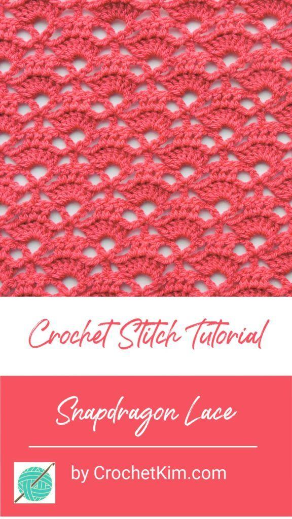 Snapdragon Lace Free Crochet Stitch Tutorial #crochetstitchestutorial