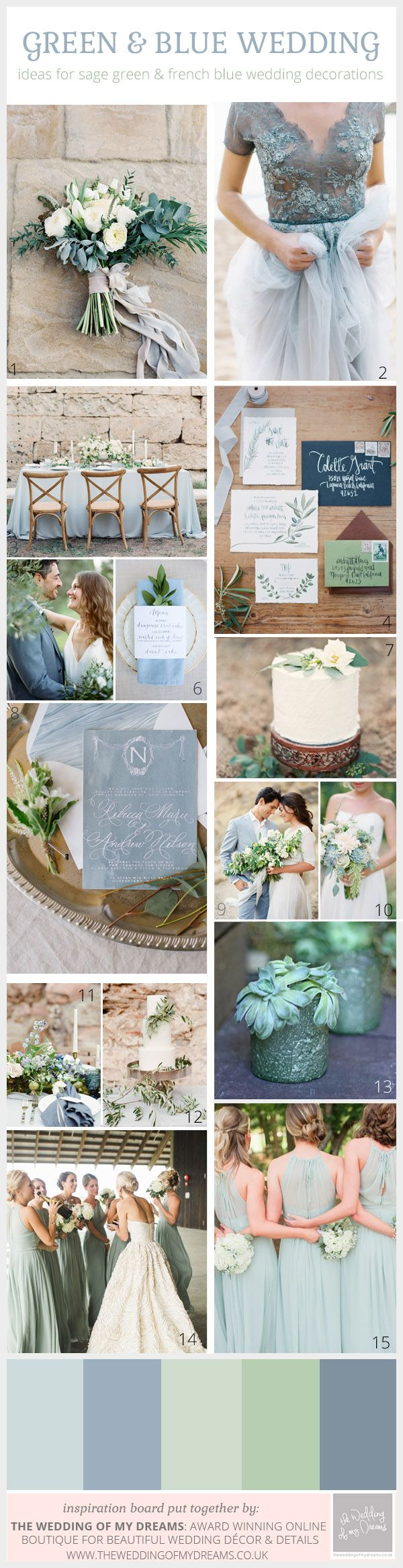 Sage Green and French Blue Wedding Colour Scheme | Blue wedding ...