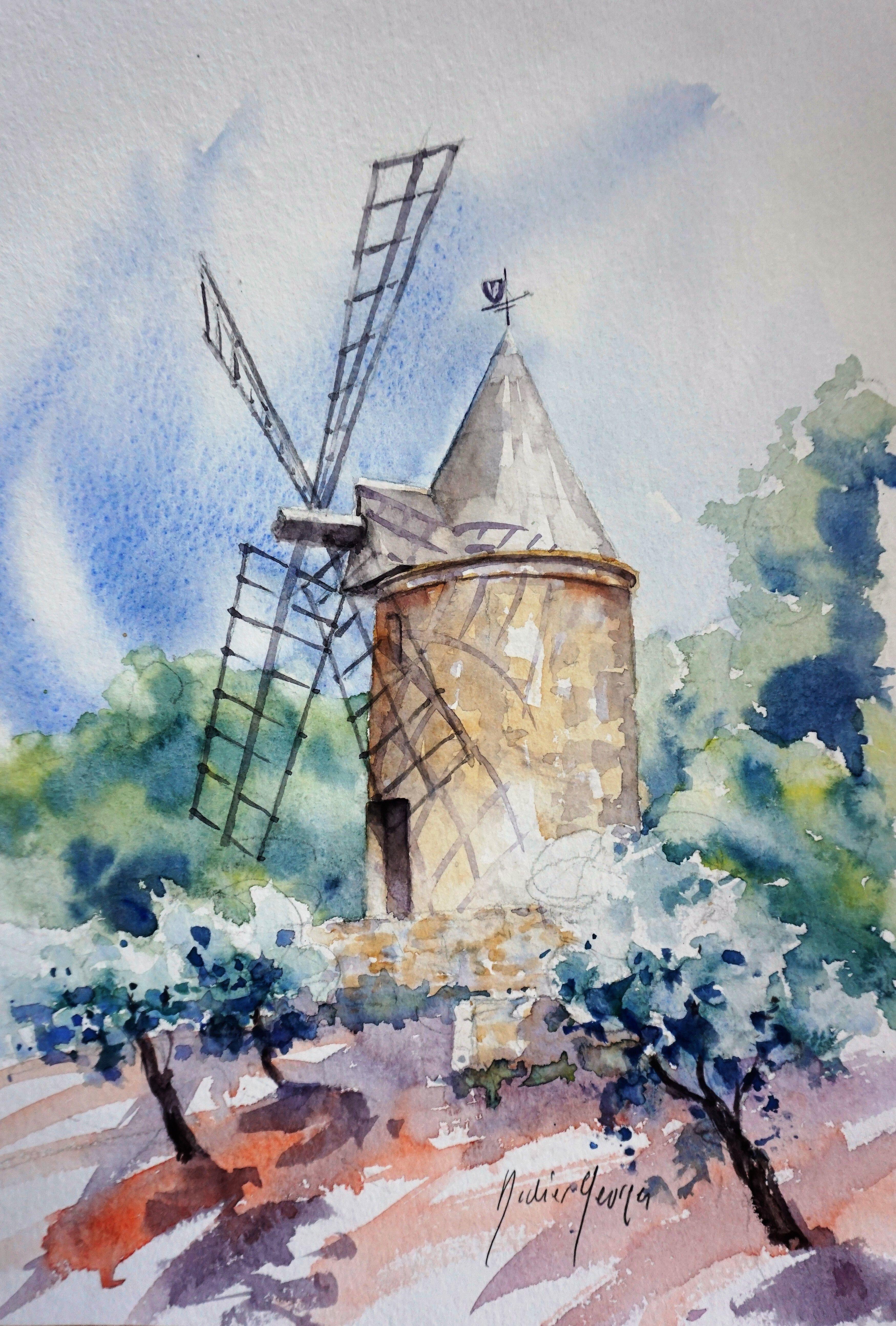 Moulin De Provence Aquarelle De Didier Georges Comment Peindre