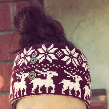Headband Ear Warmer, Holiday Headband, Winter Headband, Button Headband