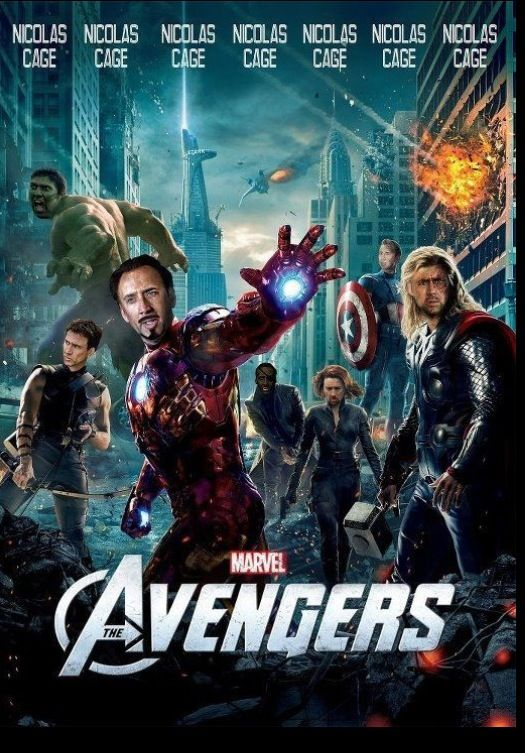 Nicolas Cage as all the avengers