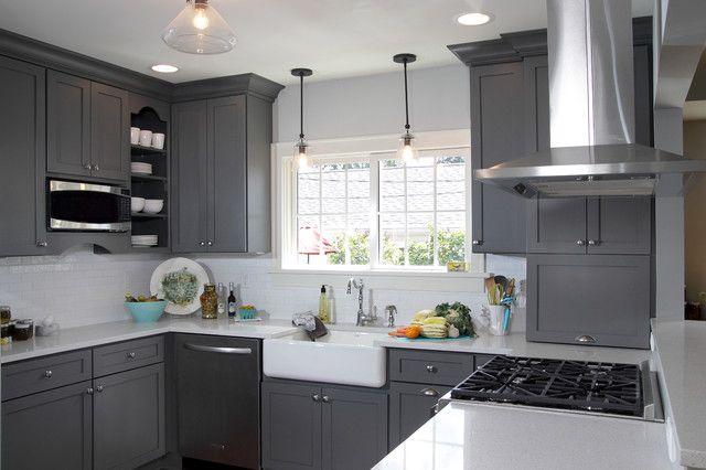 Dark Grey Shaker Kitchen Cabinets Los Angeles Grey Kitchen