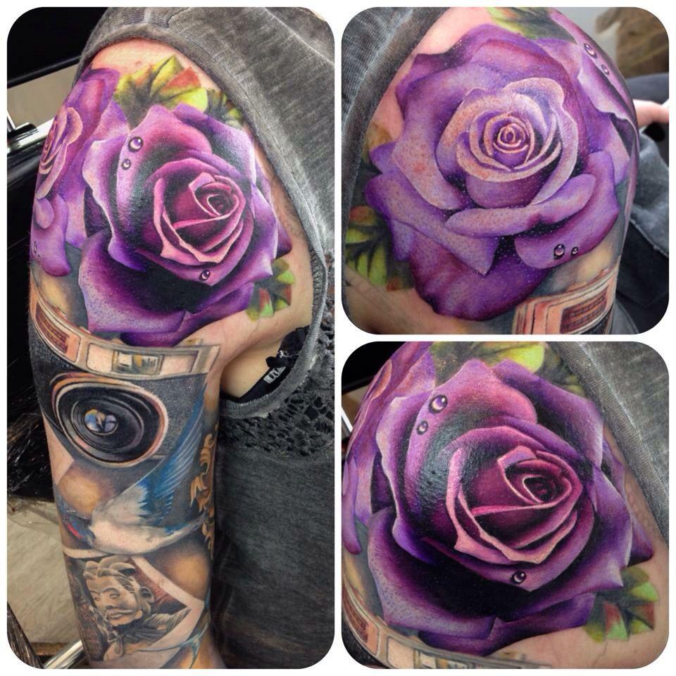 Purple rose tattoos
