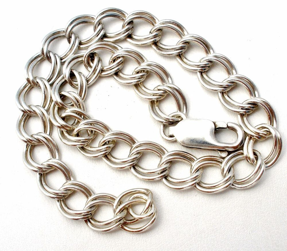 Details About Sterling Silver Double Link Charm Bracelet 925 Vintage 8