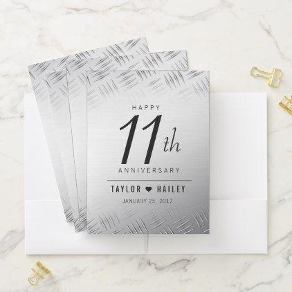Elegant 11th Steel Wedding Anniversary Celebration Pocket Folder