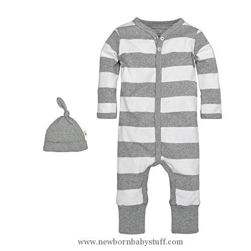Baby Girl Clothes Burt's Bees Baby Baby Organic Coverall, Heather Grey Rugby Stripe, 0-3 Months
