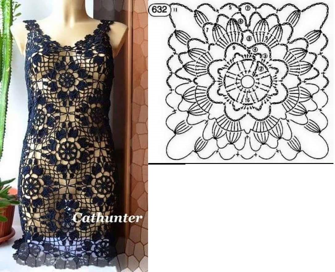 Pin von Rosângela Gama auf vestidos de crochê | Pinterest | Tuniken ...