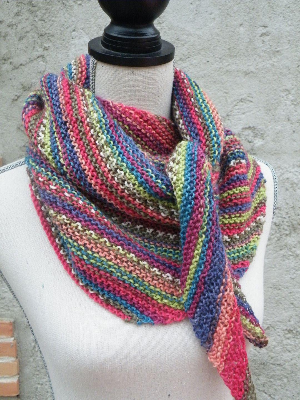 foulard ch che tricot pure laine multicolore echarpe foulard cravate par les accessoires. Black Bedroom Furniture Sets. Home Design Ideas