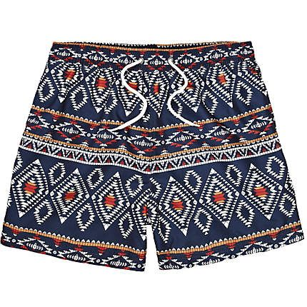 1cc4b83a84 Navy Bellfield tribal print swim shorts - swim shorts - shorts - men ...