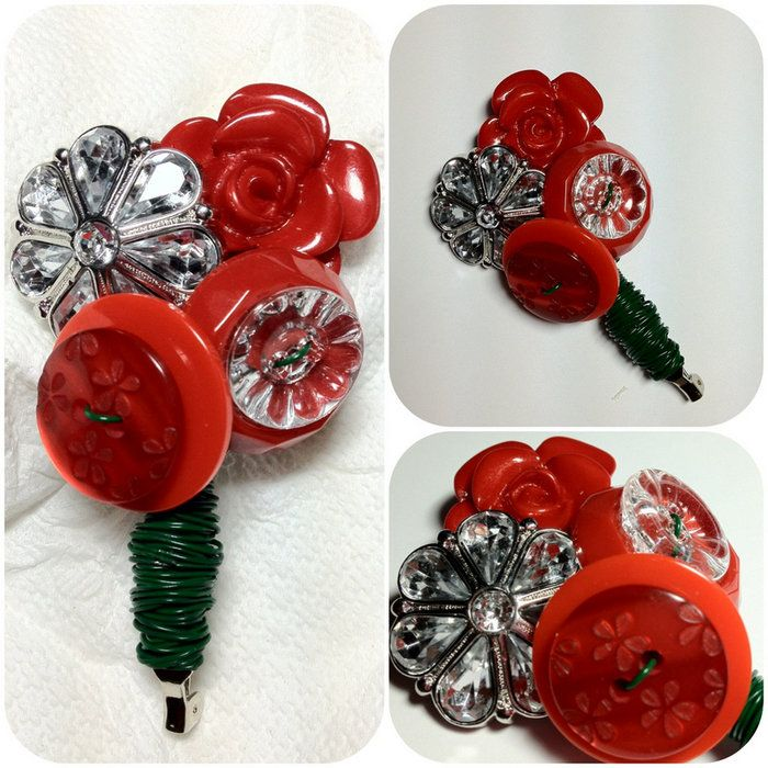 #cute #button #red #boutonniere #etsy #handmade #groom #wedding