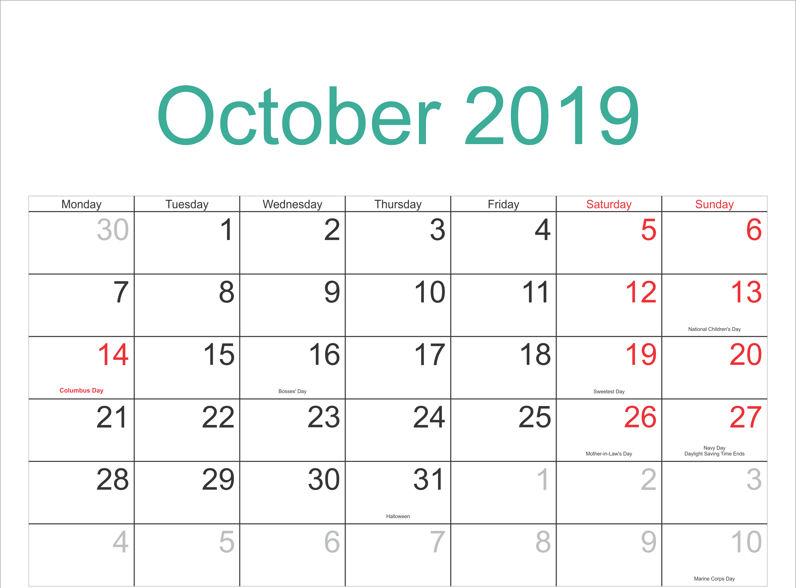 October 2019 Calendar With Holidays Template Holiday Calendar Calendar Template October Calendar