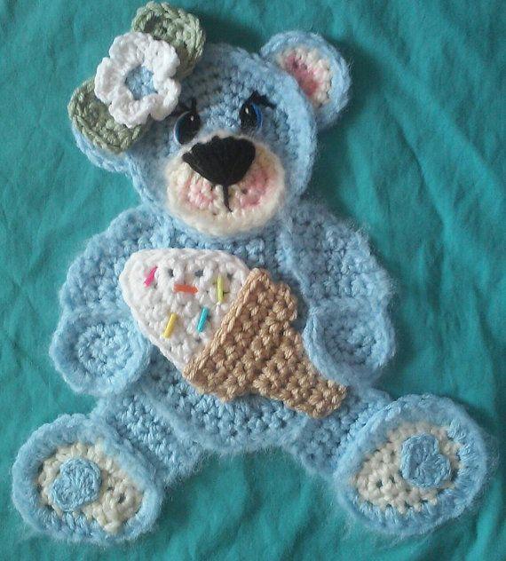 Crochet Teddy Bear Potholder/big appliques | Applikationen, Tier und ...