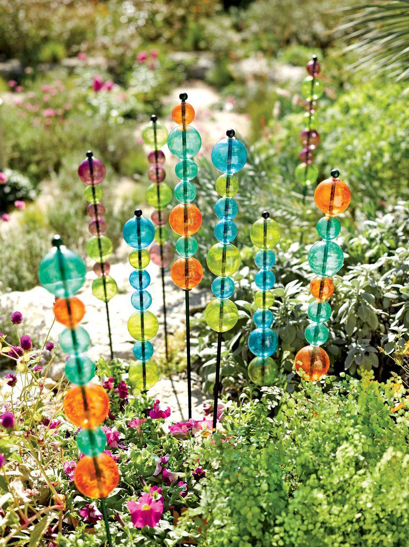 Garden Art: Stacked Glass Bubble Stake | Gardener\'s Supply | Flower ...