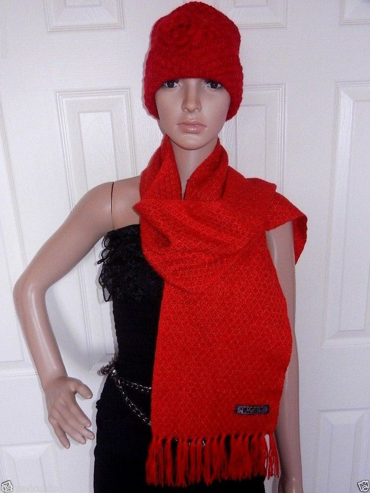 Nwt Baby Alpaca Scarf And Hat Red Scarlet Made In Peru Los Andes