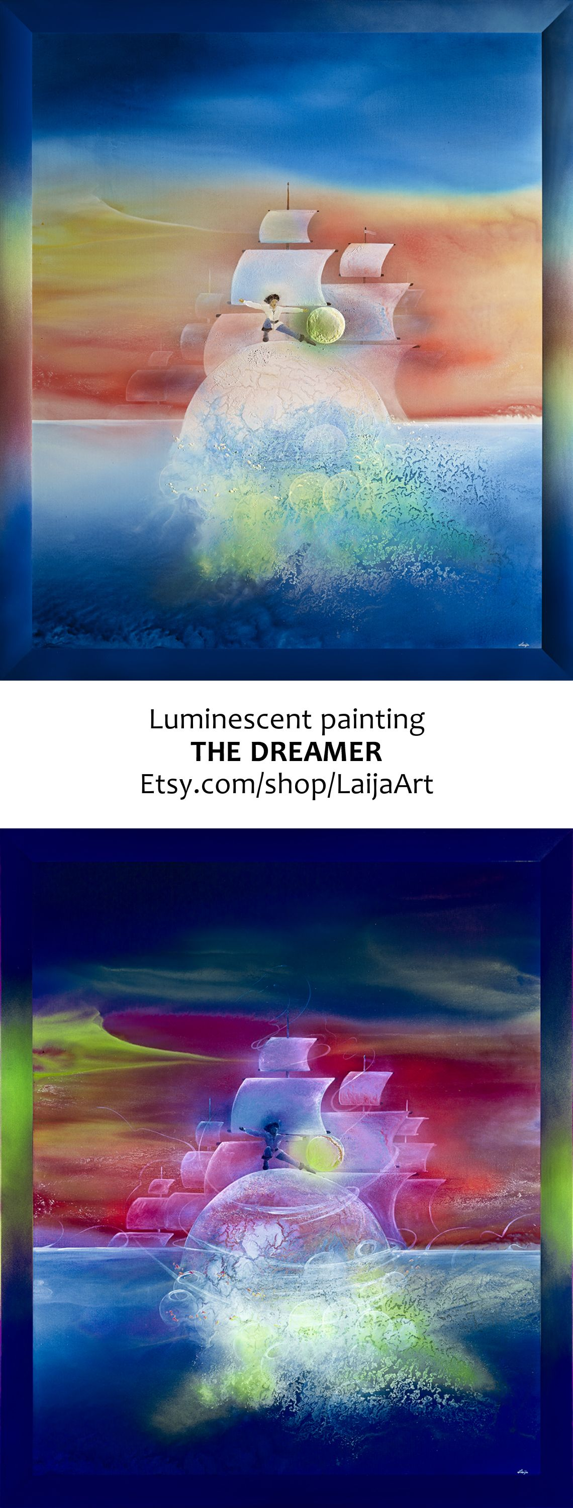 Luminescent painting THE DREAMER by Laija Art • 2013, canvas   acrylic, daylight and UV light   Painted on high quality canvas using professional acrylic and luminescent paints. The beautiful original luminescent painting THE DREAMER is created in 2013. This painting could be an excellent artwork for your home or office decoration and also as a precious piece for your art collection • Painting Ideas   Home Decor   Art   Art Ideas   Contemporary Art   Abstract Art   Fine Art • Available on…