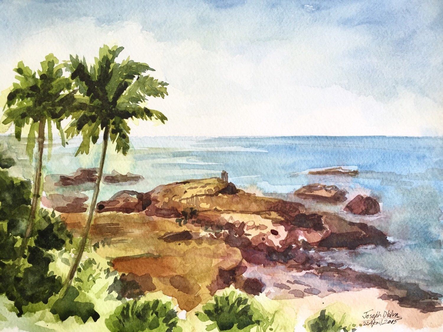 Beach Watercolor Painting Watercolors Paintings Original Beach