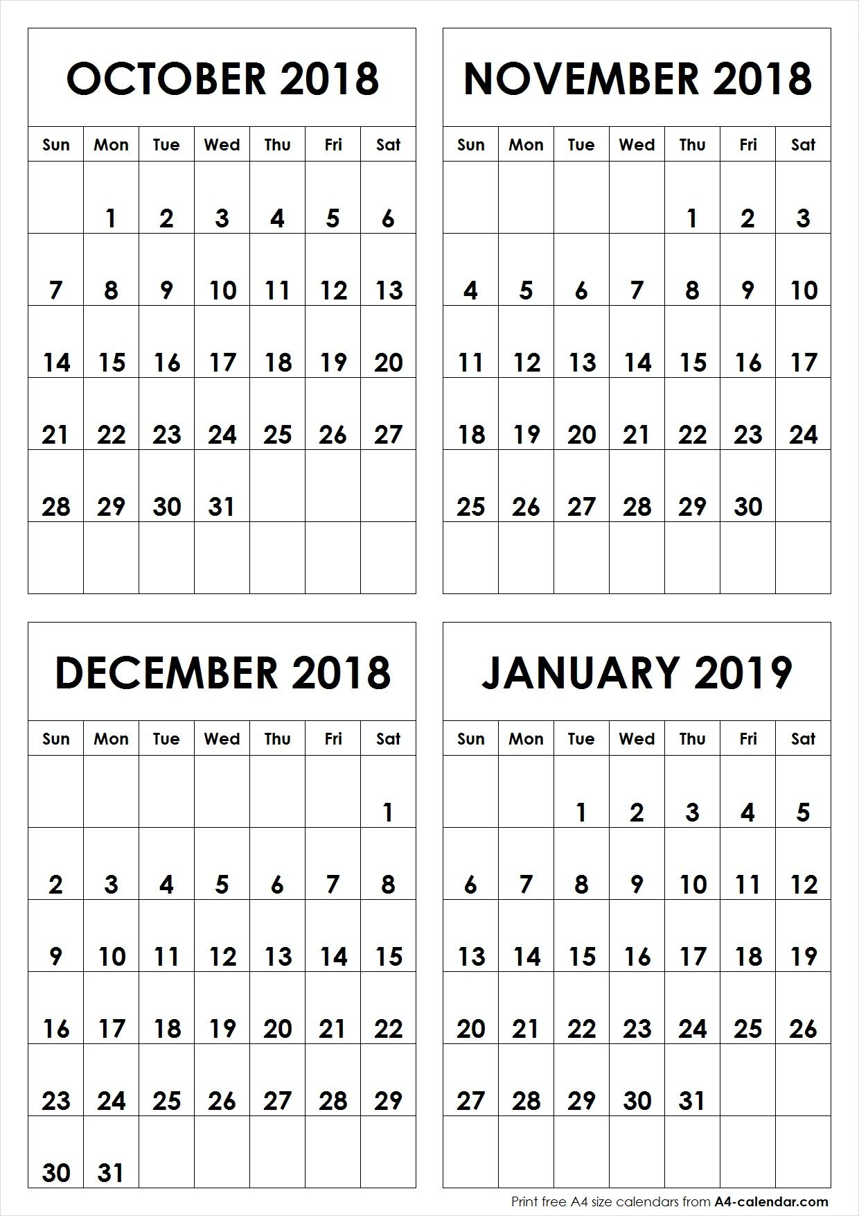 Calendar For September - December 2019 A4 October November December 2018 January 2019 A4 Calendar | October