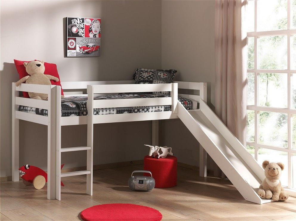 Lit mezzanine blanc avec toboggan lit blanc laqué qui