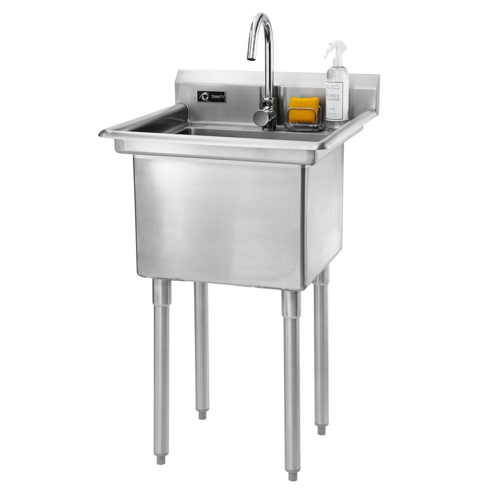 Trinity 23 In W X 23 In D X 46 In H Stainless Steel Utility Sink Tsl 0301 The Home Depot Stainless Steel Utility Sink Utility Sink Laundry Sink