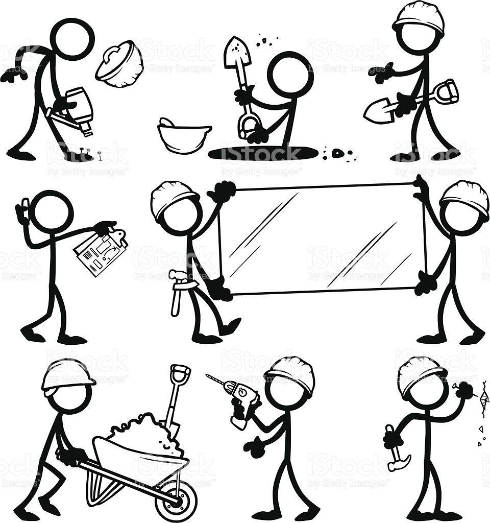 Stick Figura Personas Generador De Edificio Illustracion Libre De Derechos Libre De Derechos Dibujos Sencillos Arte Vectorial Dibujo De Munecos