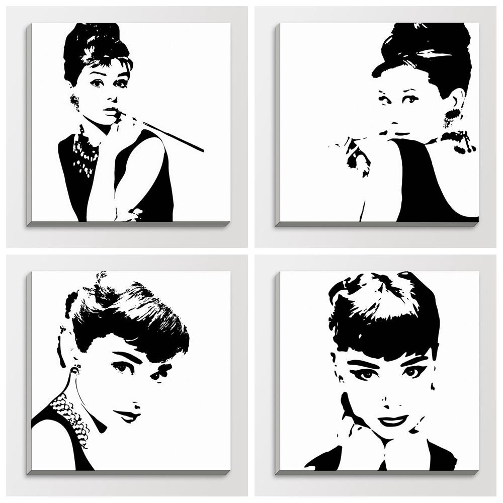 Audrey Hepburn Wall Decor Pop Art Poster Black And White Abstract Audrey Hepburn Black