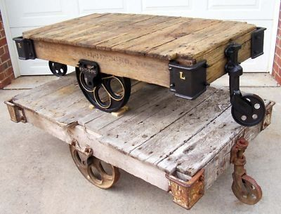 Antique lumber carts refinished as coffee tables House Inspiration