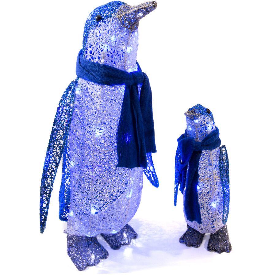 gemmy lighted penguin outdoor christmas decoration with blue - Lowes Lighted Christmas Decorations