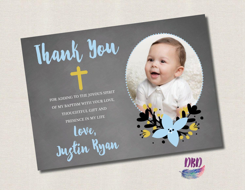 Baptism Christening Thank You Card Chalkboard With Cross Etsy Baptism Thank You Cards Christening Thank You Cards Thank You Cards