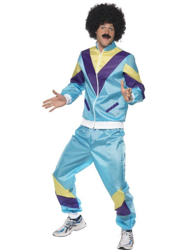 Summer Lovers Retro Shell Suit Tracksuit Scouser 80/'s Fancy Dress Costume
