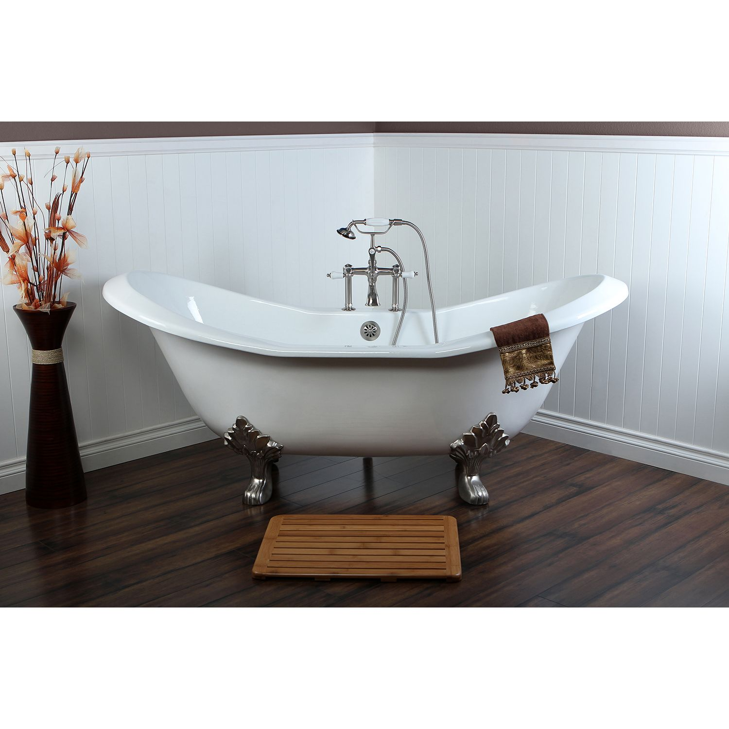 72-inch Large Claw Foot Tub with Satin Nickel Clawfoot Tub Faucet ...